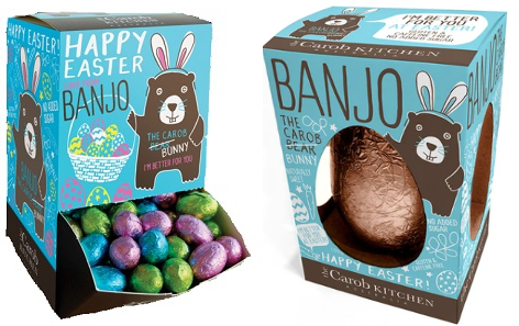 Banjo eggs in blue packaging with brown bear with pink ears