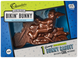 solid chocolate biker bunny on a motorbike, boxed