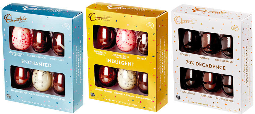 boxes of six smaller eggs from Chocolatier