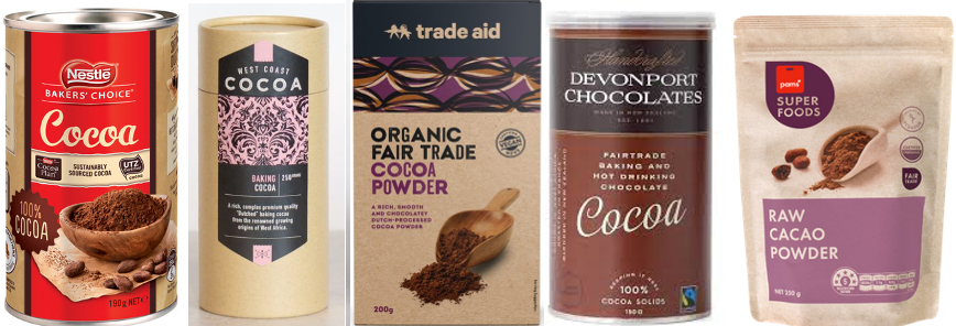 packets of all five cocoa brands mentioned below