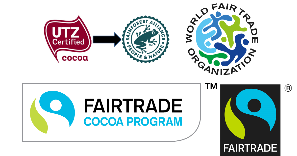certification marks for UTZ, the new Rainforest Alliance, WFTO, Fairtrade and the Fairtrade cocoa programme