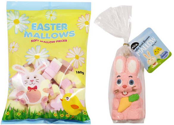 bagged marshmallows and marshmallow bunny