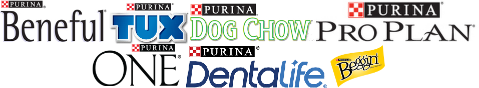 Logos of Beneful, Tux, Dog Chow, ProPlan, Purina One, Purina Dentalife and Beggin