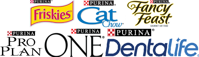 Logos of Friskies, Cat Chow, Fancy Feast, Purina Proplan, Purina One, Purina Dentalife