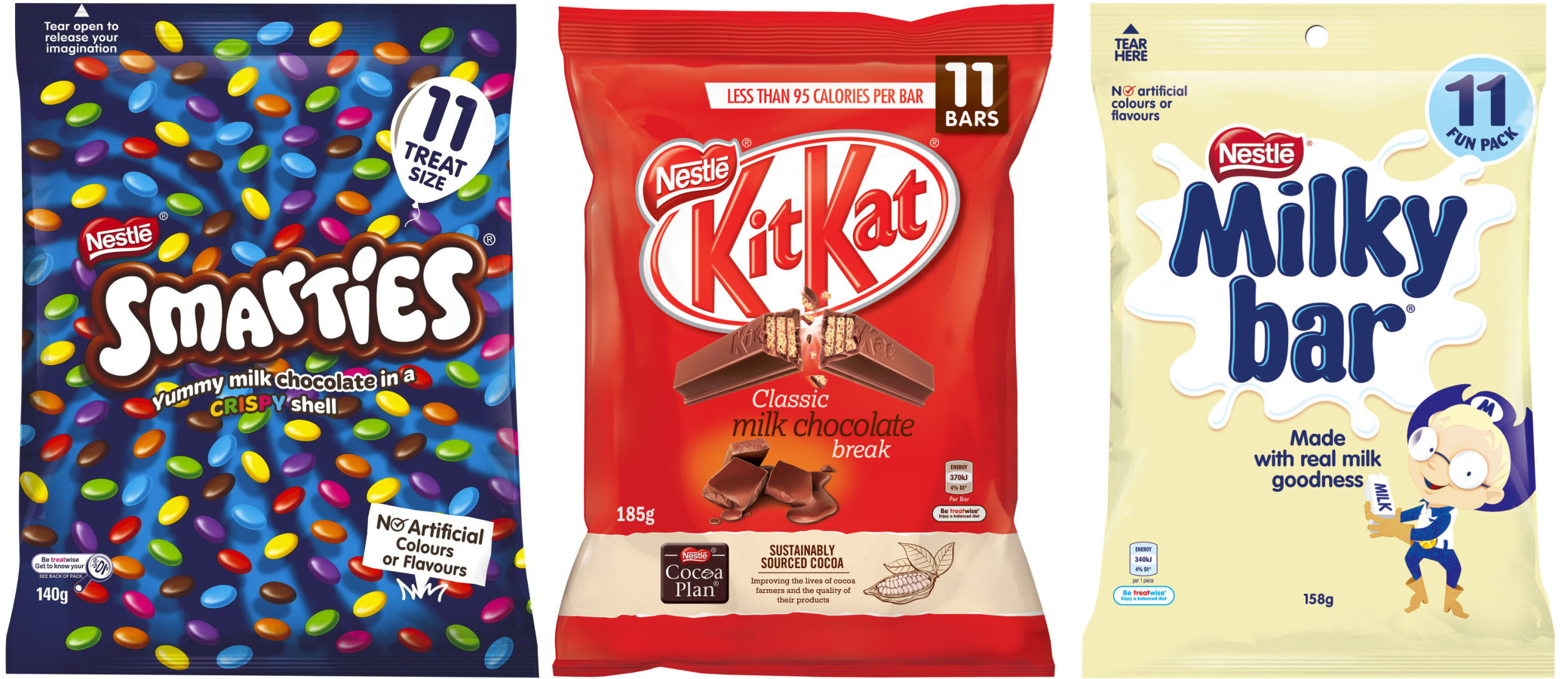 Nestle 'fun packs' of smarties, kit kats and milky bars