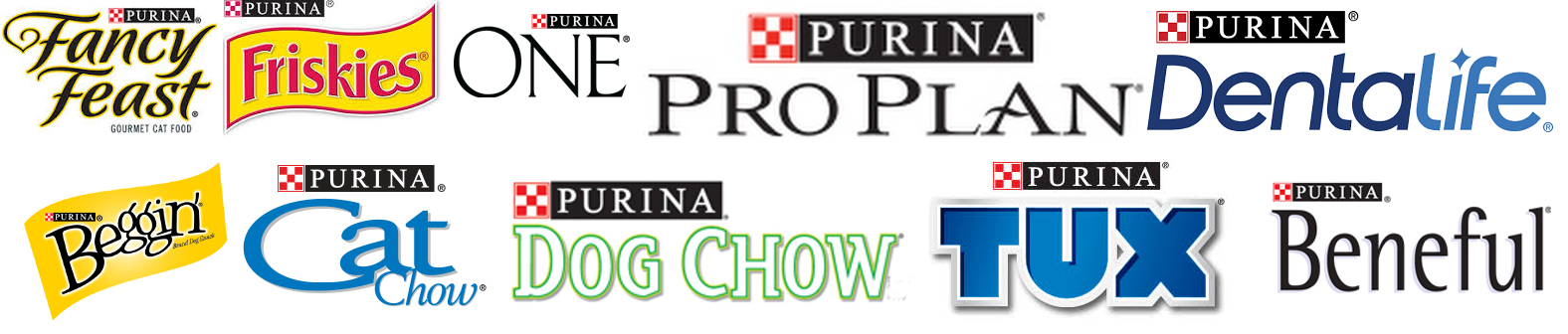 Logos of Fancy Feast, Friskies, Purian ProPlan, Purina DentaLife, Beggin, Cat Chow, Dog Chow, Tux and Beneful
