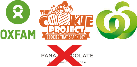 logos for Oxfam, The Cookie Project and Countdown, plus the Pana logo with a red X through it.