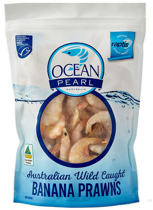Blue bag of whole pinkish prawns, clearly with heads and shells on.