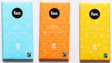 bars of Oxfam coconut, citrus and salted caramel chocolate