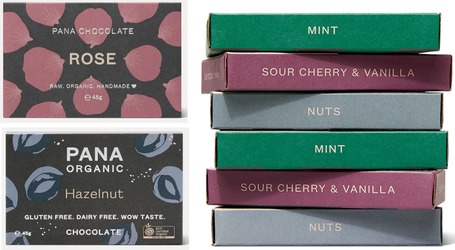 pana rose and hazelnut bars plus a stack of mint, nuts and sour cherry & vanilla bars