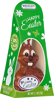 Green box with a very toothy 'funny bunny' chocolate bunny