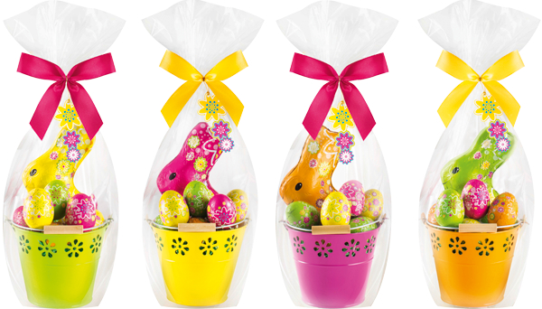 colourful tins with Riegelein bunnies and eggs