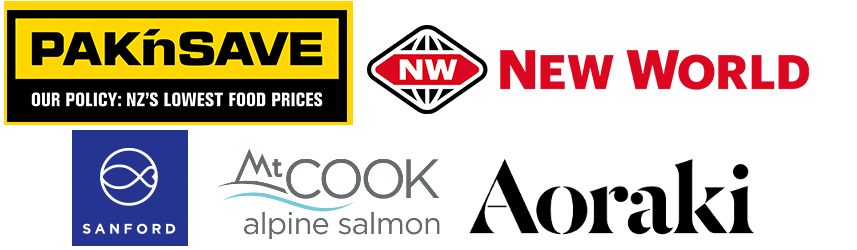 logos of PakNsave, New World, Sanford, Aoraki and Mt Cook