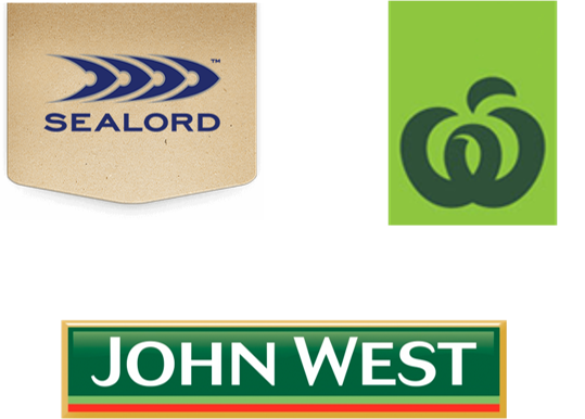 Logos for Sealord, Countdown Select, and John West