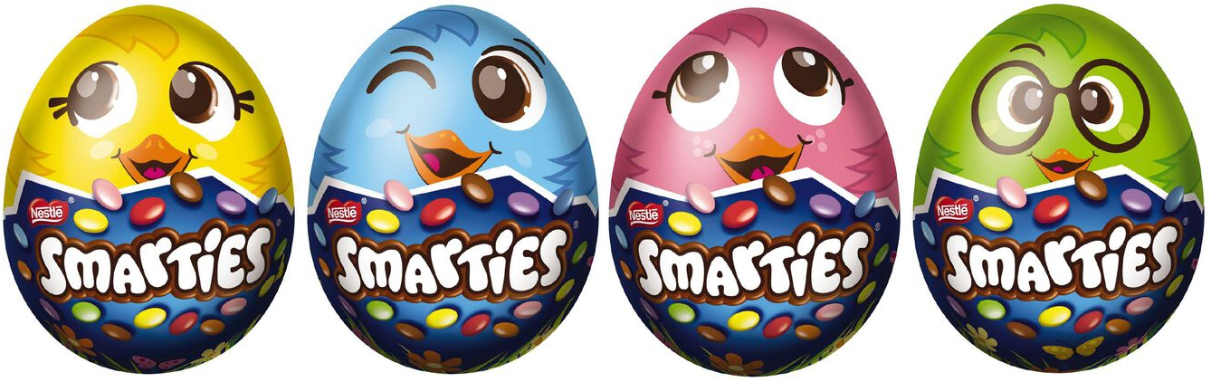 smarties eggs in various colours