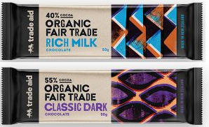 milk and dark 50g chocolate bars from Trade Aid.