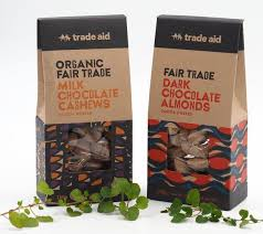 Trade Aid milk chocolate coated cashews and dark chocolate coated almonds