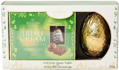 Green box of liqueur truffles with large gold egg