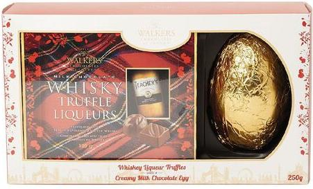 Red box of liqueur truffles with large gold egg